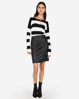 Express High Waisted Faux Leather Pleated Pencil Skirt