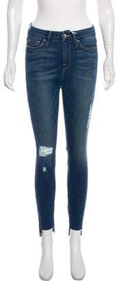Good American Distressed Mid-Rise Skinny Jeans