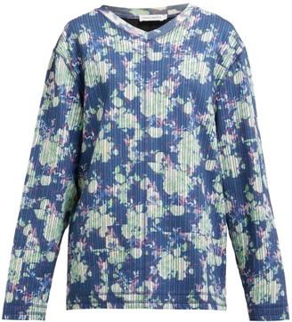 Craig Green Floral Print V Neck Striped Jacquard Sweatshirt - Womens - Blue Multi