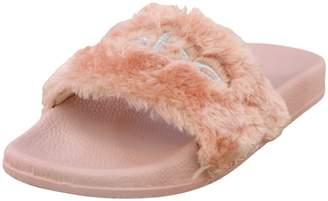 Bebe 'bebe Girls Faux Fur Slide Sandals, Blush and Silver, Size 13-1'