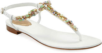 Rene Caovilla Jeweled Flat Thong Sandals