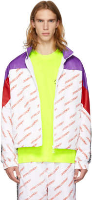 Opening Ceremony Purple and White Nylon Logo Warm-Up Jacket