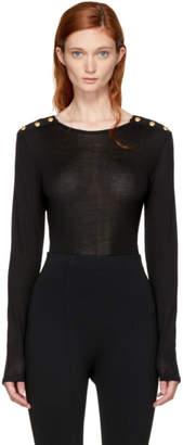 Balmain Black Long Sleeve Buttoned Pullover