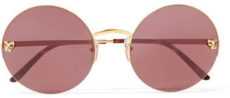 Cartier Eyewear - Panthère Round-frame Gold-plated Sunglasses - one size