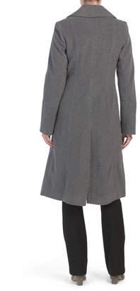 Wool Blend Notch Slant Side Seams Coat