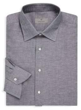 Canali Spread Collar Cotton Dress Shirt
