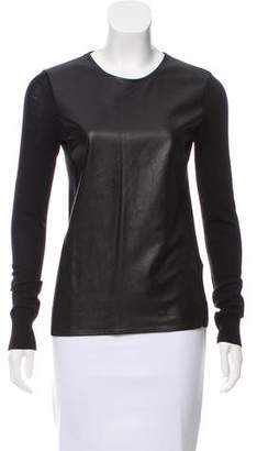 Vince Leather-Paneled Wool Top