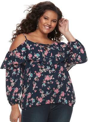 a3beffe4d2496 Juniors  Plus Size Liberty Love Lace-Up Off-the-Shoulder Top