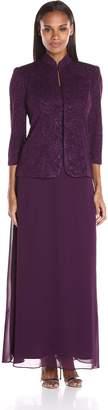 Alex Evenings Women's Jacquard Glitter Knit Long Dress and Mandarin Neck Jacket