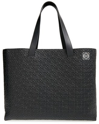 Loewe Embossed Leather Shopper - Black $1,550 thestylecure.com