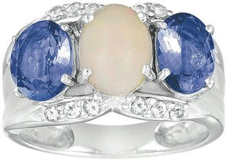 Sterling Ethiopian Opal, White Topaz & Tanzanite Ring