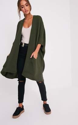 PrettyLittleThing Yazmine Khaki Chunky Knit 3/4 sleeve Wrap Cardigan