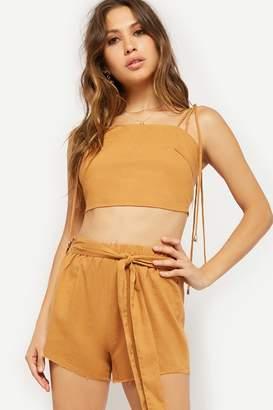 Forever 21 Linen-Blend Cami & Tie-Front Shorts Set