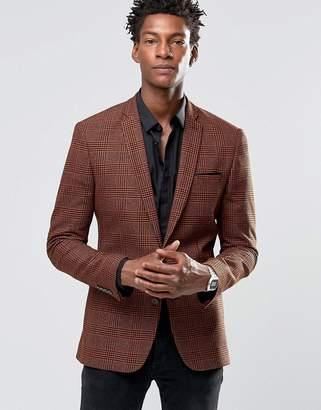 Asos Super Skinny Blazer in Orange and Black Check