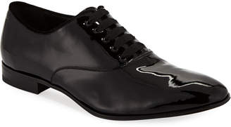 Salvatore Ferragamo Men's Belshaw Patent Lace-Up Balmoral Dress Shoe