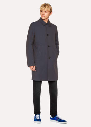 Paul Smith Men's Navy Houndstooth Cotton-Blend Unlined Mac