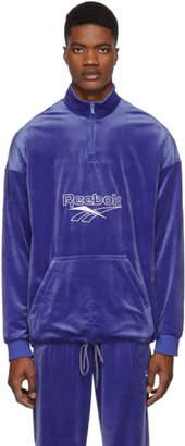 Reebok Classics Blue Velour Half-Zip Sweatshirt