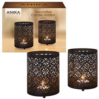 Anika Pack of 2 Decorative Black Metal Geometric Pattern Candle Tealight Holders, Metal, 2-Piece