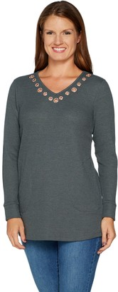 Factory Quacker Long Sleeve Waffle Knit Rose Gold Grommet Tunic