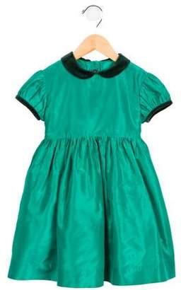 Oscar de la Renta Girls' Velvet-Trimmed Silk Dress