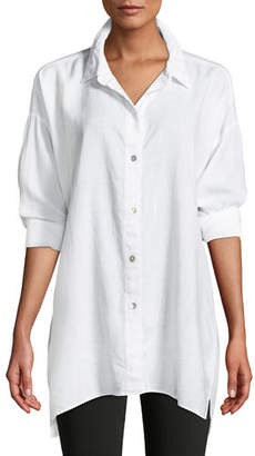 Eileen Fisher Crosshatch Classic Button-Front Big Shirt, Petite