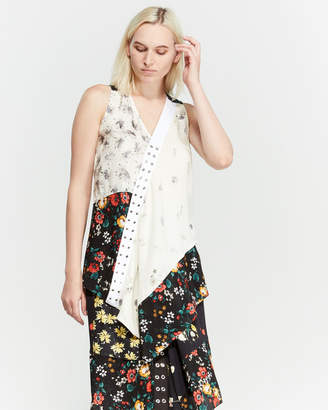 Derek Lam Sleeveless Mixed Print Silk Blouse