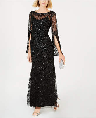 Adrianna Papell Sequined Split-Sleeve Gown