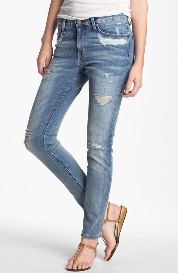 Current/Elliott 'The Stiletto' Distressed Stretch Jeans (Shipwreck Destroy)