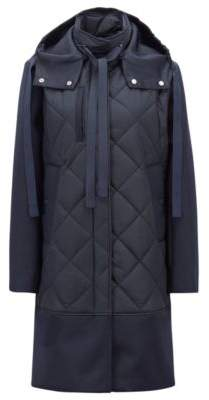 BOSS Hugo Quilted jacket in Italian technical fabric detachable hood 2 Open Blue