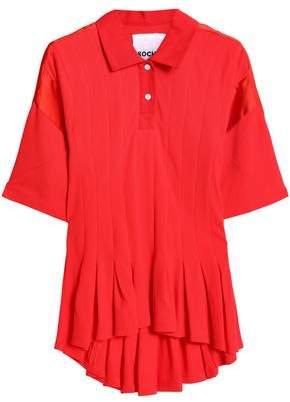 Koché Satin-Trimmed Ruffled Cotton-Piquè Polo Shirt