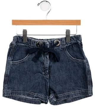 Il Gufo Girls' Denim Mini Shorts