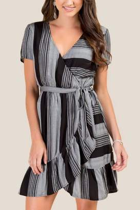 francesca's Livia Striped Wrap Dress - Black