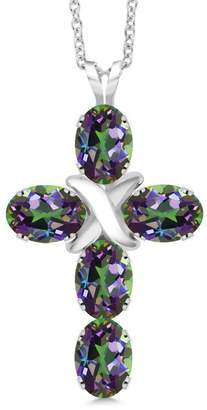 Silver Cross Gem Stone King 2.75 Ct Oval Mystic Topaz 925 Sterling Pendant With 18 Inch Silver Chain