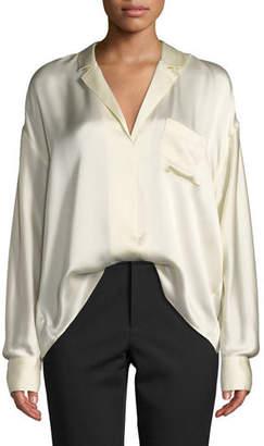 Vince Long-Sleeve Silk Pajama Popover Blouse