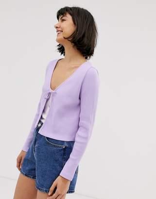 Monki ribbed jersey cardigan in purple