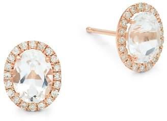 Meira T Women's White Topaz, Diamond and 14K Rose Gold Stud Earrings