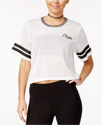 Material Girl Juniors' Mesh Player Graphic Crop T-Shirt, Created for Macy's