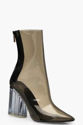 boohoo Clear Block Heel Shoe Boots