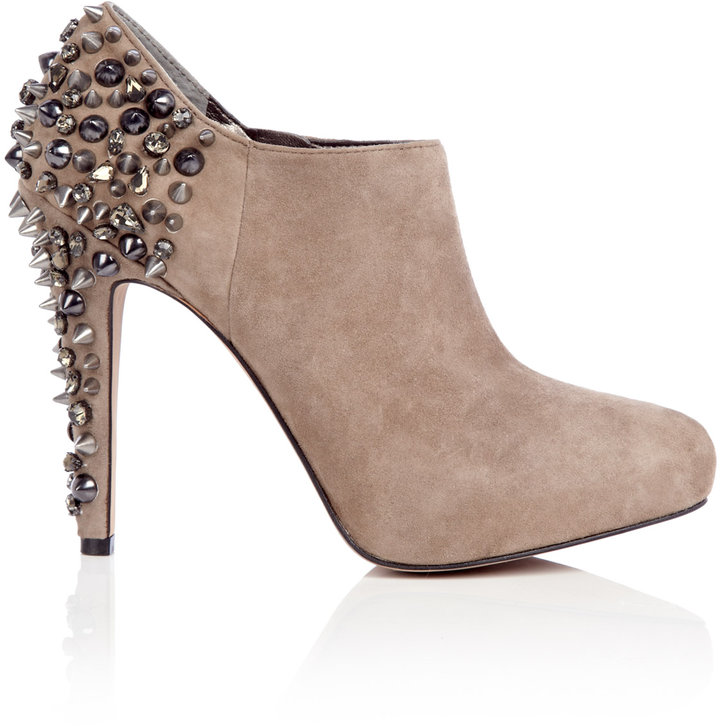 Sam Edelman Putty Renzo Suede Ankle Boot Stud Heel