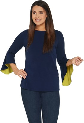 Susan Graver Liquid Knit Bell Sleeve Top with Pop Lining