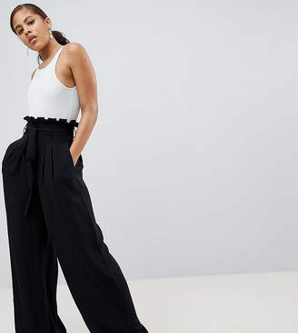 Missguided Tall exclusive tall paper bag waist wide leg pants in black