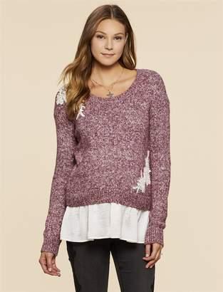 Jessica Simpson Motherhood Maternity Embellished Maternity Sweater