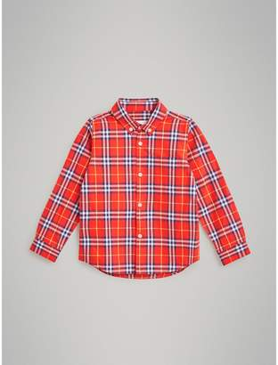 Burberry Button-down Collar Check Flannel Shirt , Size: 8Y, Orange