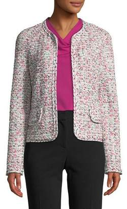 St. John Modern Pointelle Tweed Knit Jacket w/ Braided Trim