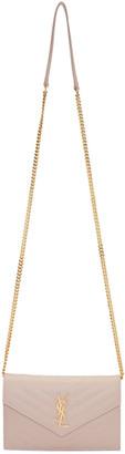 Saint Laurent Pink Monogram Envelope Chain Wallet Bag $1,275 thestylecure.com