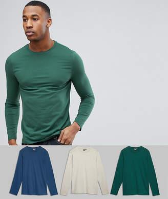 Asos DESIGN long sleeve crew neck t-shirt 3 pack SAVE