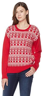 Ugly Fairisle Unisex Adult Jacquard Crewneck Long Sleeve Christmas Sweater L Red/White