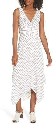 Maggy London Stripe Ruched Handkerchief Hem Dress
