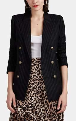 Saint Laurent Women's Pinstriped Wool Twill Double-Breasted Blazer - Black