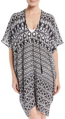 Marie France Van Damme V-Neck Half-Sleeve Silk Printed Coverup Dress, One Size